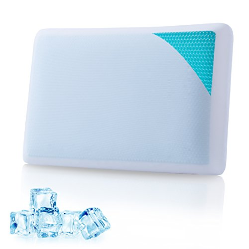 Cr Comfort & Relax Reversible Memory Foam Gel Pillow for Sleeping Cool - Standard Size (1-Pack)