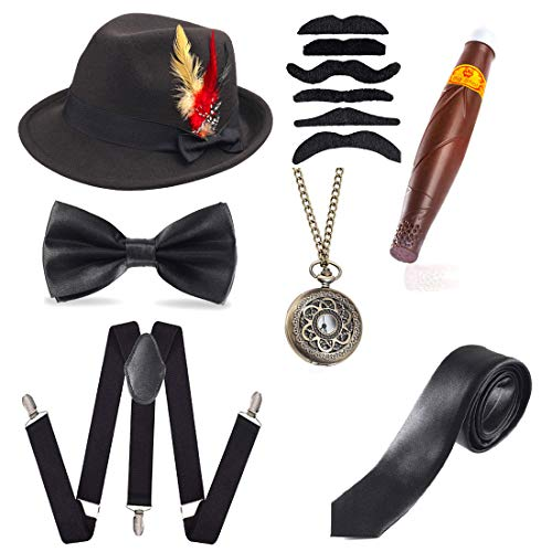 Beelittle 1920s Men Accessories Trilby Manhattan Fedora Hat,Y-Back Suspenders,Gangster Ties,Puff Cigar (H)
