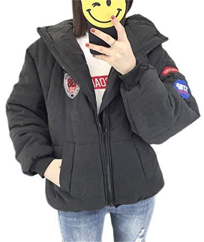 Quilting Blouson Femme Manches Longues  Capuchon Manteau Hiver Mode Spcial Style paissir Chaud Bouffant Casual avec Badge Outerwear Chemine Stepp Elgante Schwarz