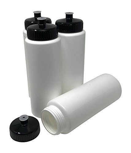 CSBD Blank 32 oz Sports and Fitness Squeeze Water Bottles, BPA Free, HDPE Plastic, Made in USA, Bulk (White Bottle - Black Lid, 4 Pack) ()