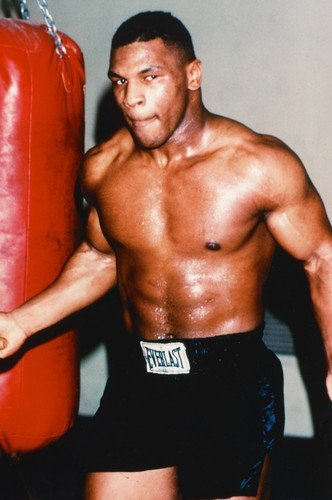 Mike Tyson Bare Chested Training Boxing Gym Punch Bag 11x17 Mini Poster