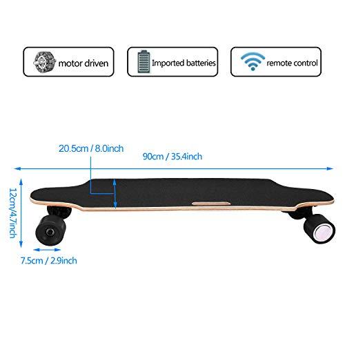 35.4'' Electric Skateboard 10km Range 250W Hub-Motor 2.9'' Wheels Longboard with Remote Controller Waterproof IP54 (Black) by Hurbo (Image #5)