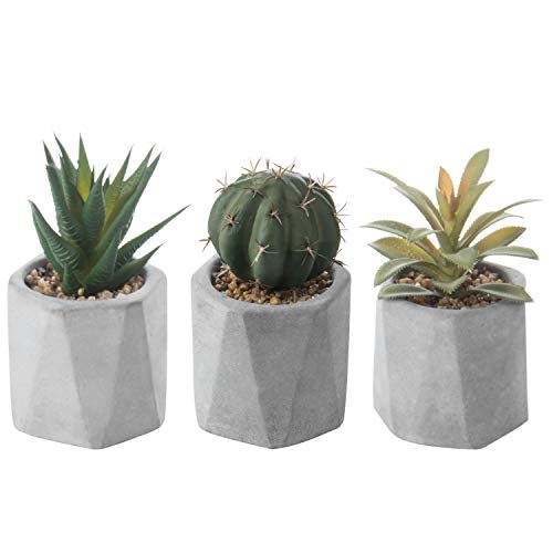 MyGift 5-Inch Artificial Succulent & Cactus Plants in Geometric Clay Pots, Set of 3