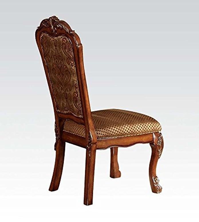 ACME Dresden Wooden Frame Side Chair in Fabric & Cherry Oak