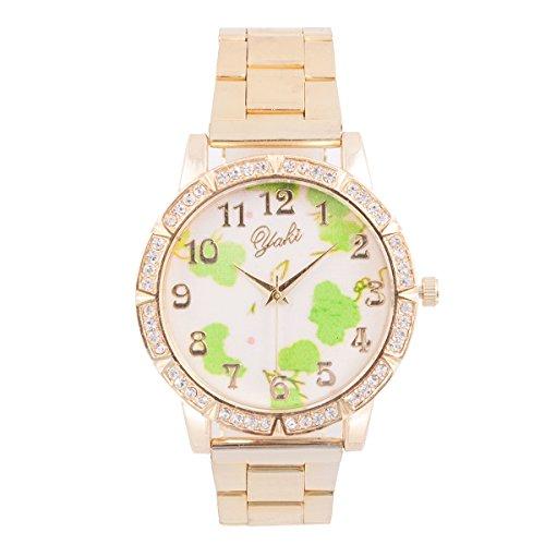 Yaki Damenuhren Goldene Uhr mit Blumen Ziffernblatt Strass Rund Quarz Armbanduhr