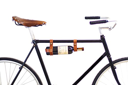 oopsmark Bicycle Wine Rack Carrier - Bike Bottle Holder - Tan Leather