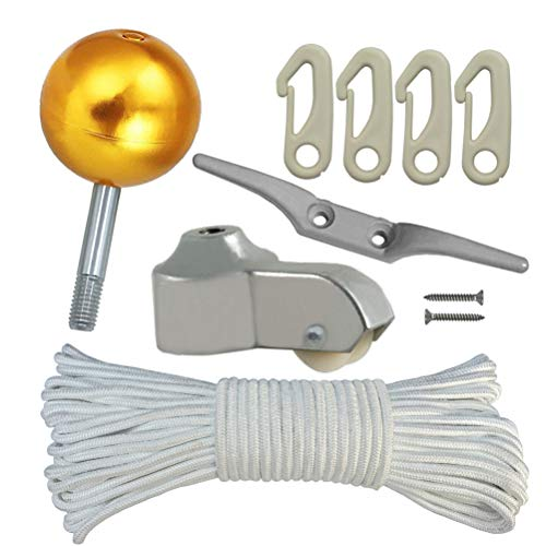 "Flag Pole Parts Repair KIT - 80 Feet Flag Halyard Rope + 3"" Gold Ball + 4"" Cleat Hook + 4 PCS Flag Clip Hooks + Flagpole Truck for 2"" Top"
