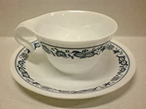 Corelle - Old Town Blue - Hook Handle Cup & Saucer (Set of 4)