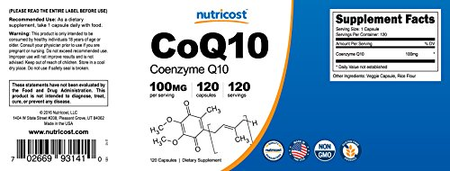 Nutricost CoQ10 100mg 120 Veggie Capsules 120 Servings - High Absorption Coenzyme Q10 Discount