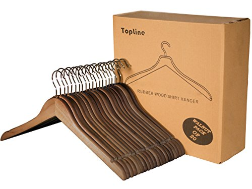 Topline Classic Wood Shirt Hangers - Walnut Finish (20-Pack)