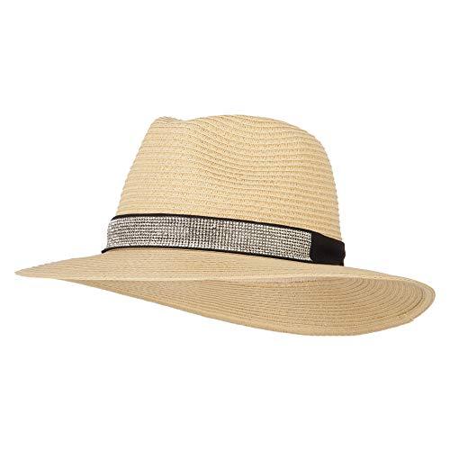 Ladies Paper Straw Rhinestone Band Panama Fedora Hat - Natural -