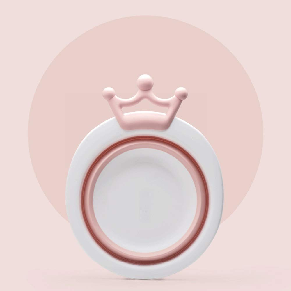 ZHAIZX Baby Folding washbasin Home Newborn Children's Products Baby wash Ass Female Small Basin (Color : Pink)