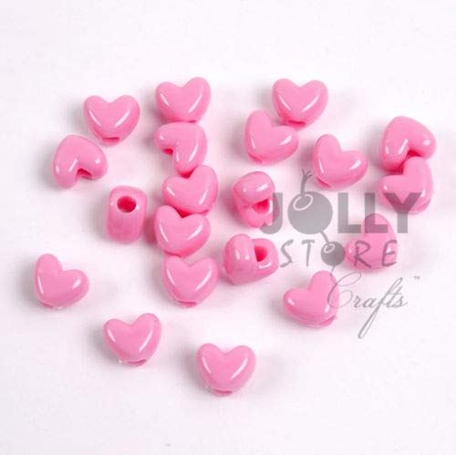 (OutletBestSelling Beadwork Art Crafts Pink Heart Shaped Pony Beads 100pc Made USA Crafts Hair Jewelry Bling)