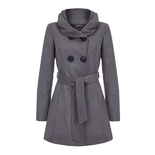 Anastasia Grey Tweed Women's Hooded Belted Winter Coat, Size 12 Belted Tweed Coat