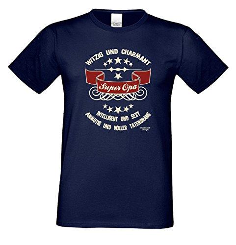 Großvater Fun-T-shirt als Top Geschenk mit GRATIS Urkunde - Super Opa Farbe: navy-blau Gr: 5XL