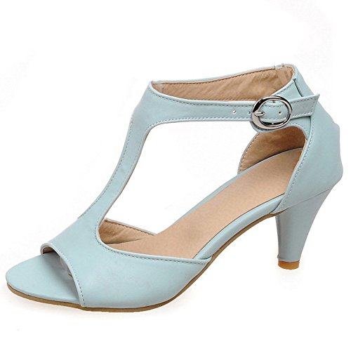 RAZAMAZA Mujer Classic Gladiator Sandalias Punta Abierta T-Strap Mini Tac¨®n Zapatos Azul