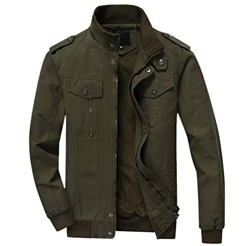 Cerniera Militare Cotone A Con Maniche Lunghe Green Leggera Uomo Giacca Army Vento Yaancunn W8xBSZwnI