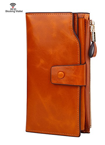 Tan Leather Travel Wallet (Dante Women RFID Blocking Wallet-Clutch Checkbook Wallet for Women-Shield Against Identity Theft(Tan))