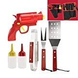 Smokin' Grill BBQ Tools & Condiment Dispenser Set