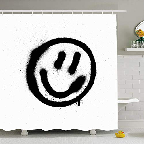 (Ahawoso Shower Curtain 72x72 Inches Art Grafitti Graffiti Smiling Face Emoticon Black On Drip Spray Paint Vandalism Happy Aerosol Splat Waterproof Polyester Fabric Set with Hooks)