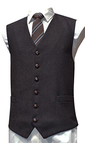 Classic Wool Vest (Classic Wool Handle Traditional Herringbone Style Tweed Waistcoat - Brown)