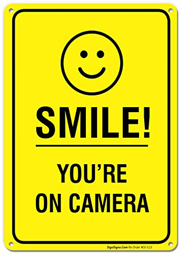 Smile You're on Camera Video Surveillance Sign 10 X 14 Rust Free .40 Aluminum ()