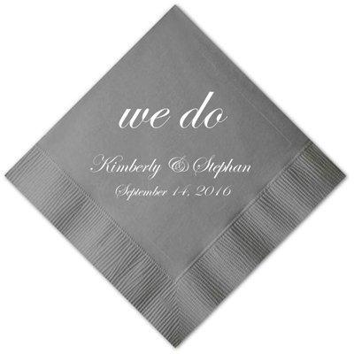 Wedding Cocktail Napkins.Personalized Platinum Wedding Cocktail Napkins Set Of 100