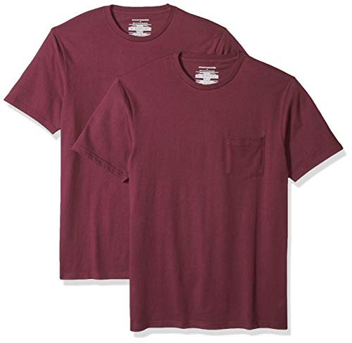 Amazon Essentials Men's 2-Pack Slim-Fit Short-Sleeve Crewneck Pocket T-Shirt, Burgundy, ()