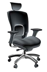 GM Seating Ergolux Genuine Leather Executive Hi Swivel Chair Chrome Base with Headrest, Black