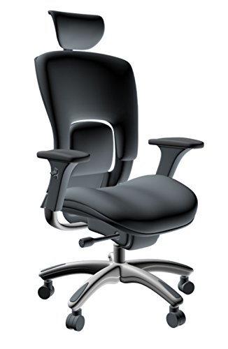 - GM Seating Ergolux Genuine Leather Executive Hi Swivel Chair Chrome Base with Headrest, Black