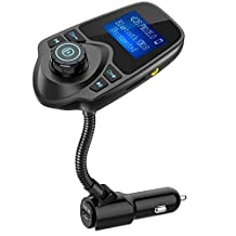 Nulaxy Wireless In-Car Bluetooth FM Transmitter Radio Adapter Car Kit with 1.44 Inch Display and USB Car Charger - Black Matte