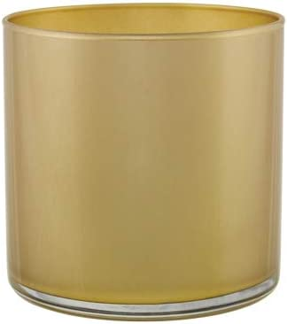 """Floral Supply Online - 5"""" Tall x 5"""" Wide Light Gold Cylinder Glass Vase for Weddings, Events, Decorating, Arrangements, Flowers, Office, or Home Decor."""