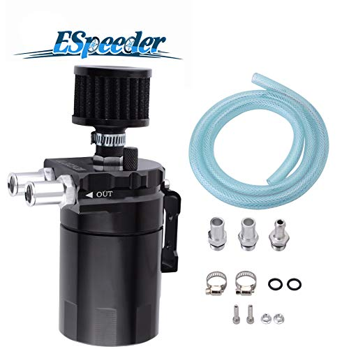ESPEEDER Universal Aluminum Oil Catch Can Polish Baffled Reservoir Tank Black with Breather Filter 300ml