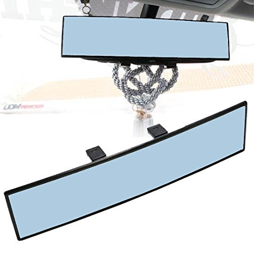 iJDMTOY Universal Fit JDM 300mm 12-Inch Wide Anti-Glare Blue Tint Curve Convex Clip On Rear View Mirror For Car SUV Van Truck, etc