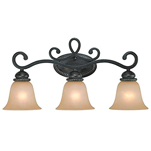 Jeremiah 25203-MB Highland Place 3 Light Vanity Light Fixture with Light Umber Etched Glass, Mocha Bronze outlet