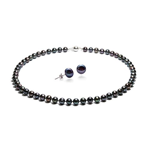 - Blue Pearls - Black Freshwater Pearl Necklace and Earrings Set and Silver 925 - BPS 0011-0111 Y Noir- Blue Pearls - BPS 0011-0111 Y Noir