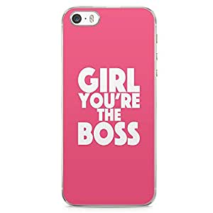 iPhone 5S Transparent Edge Phone case Girl Boss Phone Case Pink Phone Case Girl Power iPhone 5 Case with Transparent Frame