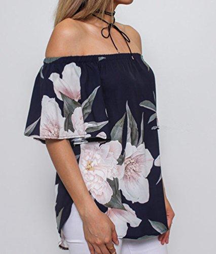 Sentao Imprim Tank Vrac Femme Veste Style 1 Floral Nue paule en Chemisiers Shirt Dbardeurs T Tops RtrqaRS7