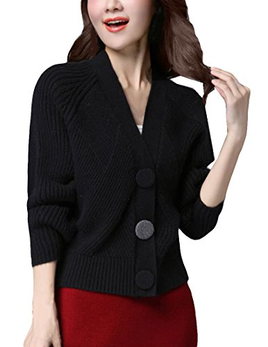 MFrannie Women V Neck Loose Sleeve Button Down Wool Sweater Cardigan Black M