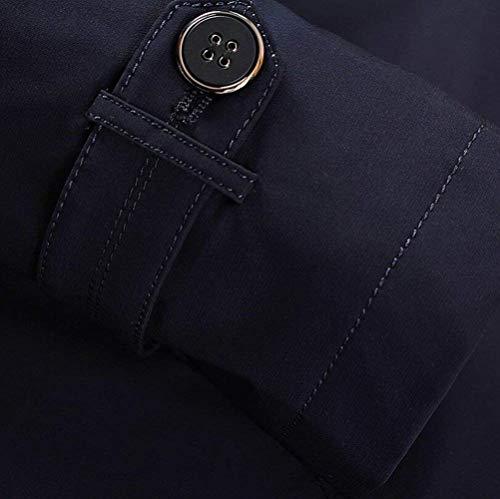 Maschile Capispalla Trench Monopetto Giacca Affari Bavero Collo B Blau Coat Cappotto AUP5ZqUW