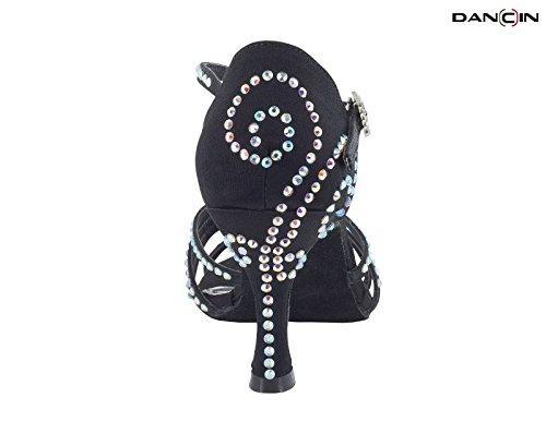 en cm Mujer 5 4 Negro Negro Strass de Baile con Crystal Zapatos 7 Raso TC Fajas 6E8n7qFxw