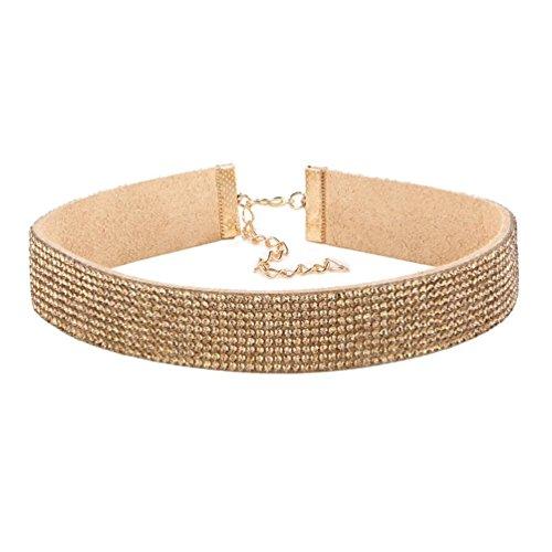 Molyveva Women Choker Velvet Ribbon Collar Classic Rhinestone Necklace Extender Chain Adjustable Neck (Gold)