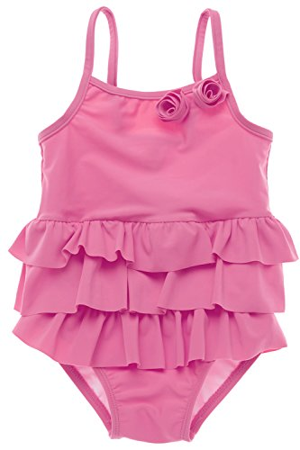 [BeautyIn Baby Girls One Piece Swimwear Cute Rosette Swimming Costume 0-6 months] (0-3 Month Swimming Costumes)