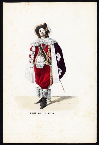 Antique Costume Print-LOUIS XIII-17TH (17th Century Costumes France)
