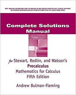 Complete solutions manual for stewart redlin and watsons complete solutions manual for stewart redlin and watsons precalculus mathematics for calculus 5th edition redlin 9780534493165 amazon books fandeluxe Image collections