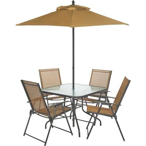 Outdoor 6-Piece Folding Patio Dining Furniture Set with Umbrella, Seats 4 -