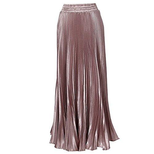 De Femme Soie Rose Longue Mousseline Robe KINDOYO Taille Haute Jupe Plissee des axSnAdqw