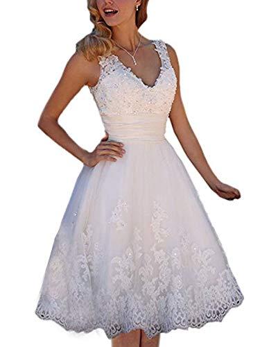 Short Wedding Dress Knee Length Lace Travel Tulle Rhinestones V-Neck Lace Up Bride Gowns Vintage Dress White