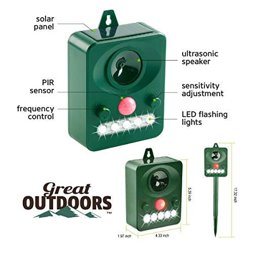 GREAT OUTDOORS TM Ultrasonic Animal Repeller and Solar Pest Waterproof Repellent - Effective & Humane Outdoor Deterrent for Bird, Deer, Cat, Dog, Squirrel, Raccoon, Rabbit (5.6 x 4.1 inch, Green)