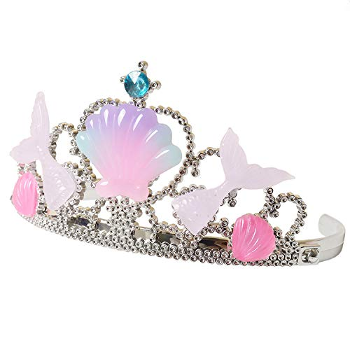 Mermaid Princess Headband Girls Crown Tiara Kids Party Supplies Pink Crystal]()